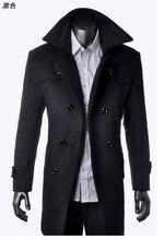 Зима корейский двубортная кашемир приталенный для мужчины в длинная шерсть пальто утолщение кнопки куртка пальто