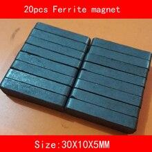 цена на 20PCS 30*10*5MM work temperature -40 to +220 Celsius block black permanent Ferrite Magnet