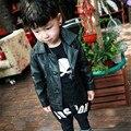 Новая Мода 2016 Осень Детей И Пиджаки Мальчики Кожаные Куртки Soild Черный Кожаное Пальто Мальчиков Кардиган Куртки 2-7 лет