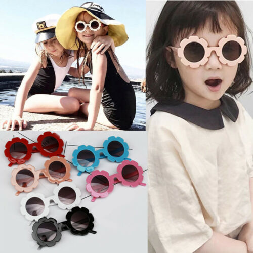 2019 New Sun Flower Kid Round Sunglasses Boys Girls Round UV400 Glasses Polycarbonate Blue Light Blocking Glasses Wholesale Hot