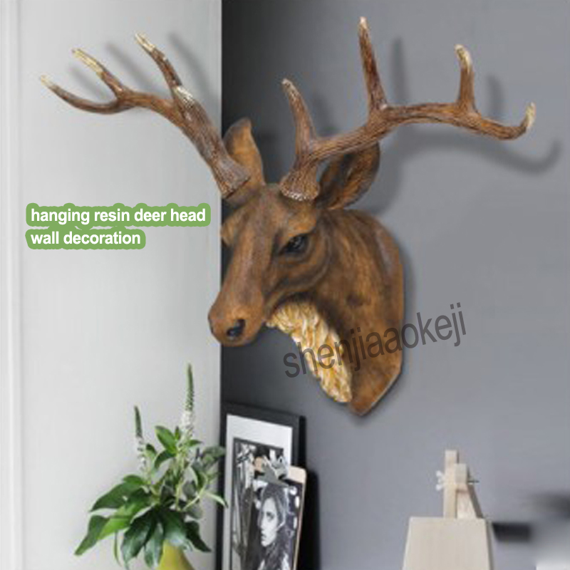 Retro hanging wall resin deer head Decorative rack cafe wall decoration Home living room wall Creative decorations Decor frame