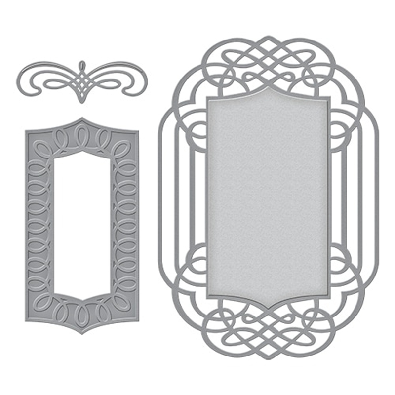 3PCS Lace Frame Metal Cutting Dies Stencils For DIY Scrapbooking Decorative Embossing Suit Paper Cards Die Cutting Template 2019 in Cutting Dies from Home Garden