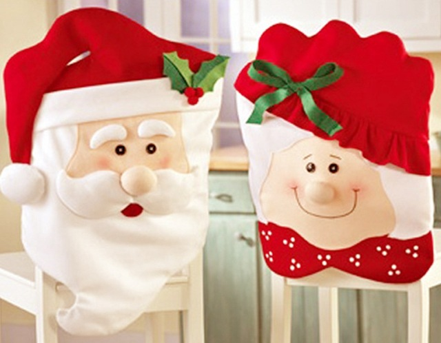 2pcs Lot Mr Mrs Santa Chair Cover Christmas Set Decorations Xmas Seat Festive