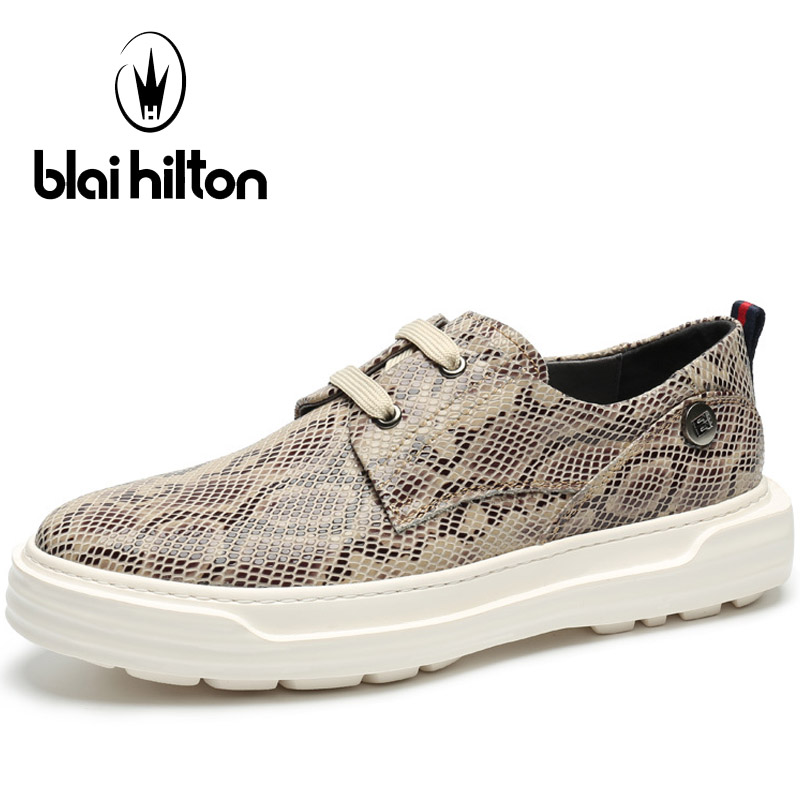 Blaibilton Lace-Up Skateboard Shoes Man Brand Serpentine Embossing Men's Sneakers Breathable Genuine Leather Sport Shoes For Men