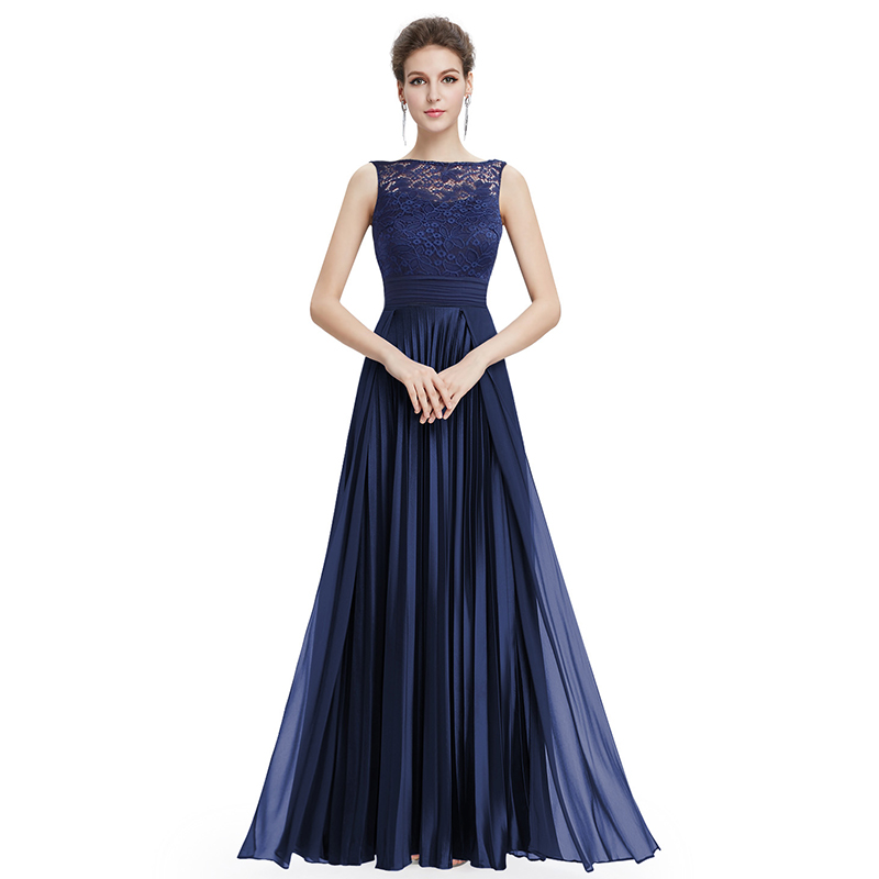 Cheap Prom Dresses Long 2019 Women's Navy Blue A-line Lace Sleeveless Round Neck Prom Long Elegant Dresses for Wedding Guest