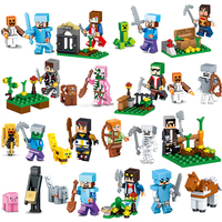 16Pcs Lot Minecrafted Action Figures Set Jungle Mundos Steve Alex Zombie Weapon Toys Compatible With LegoINGlys