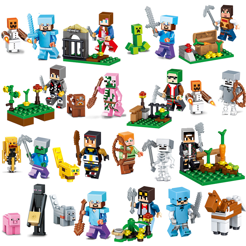 16Pcs/Lot Minecrafted Action Figures Set Jungle Mundos Steve Alex Zombie Weapon Toys Compatible with LegoINGlys Blocks for gift