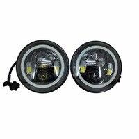 7 Round LED Headlight DRL Angel Eyes Turn Signal Lights Offroad Light Hi Lo Beam For