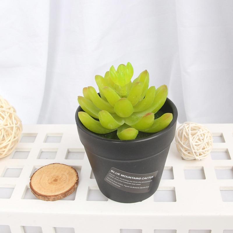 Zinmol Potted Artificial Green succulent plants Bonsai set fake Flower vase Decorative Flower Home Balcony Decoration