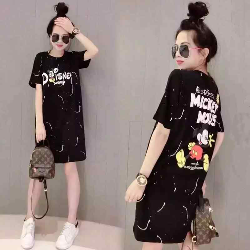5XL Short Sleeve Mickey T shirt Women Cute Summer Cartoon Tees Feminina Casual Mickey Mouse Tshirt Streetwear Loose T Shirt Girl