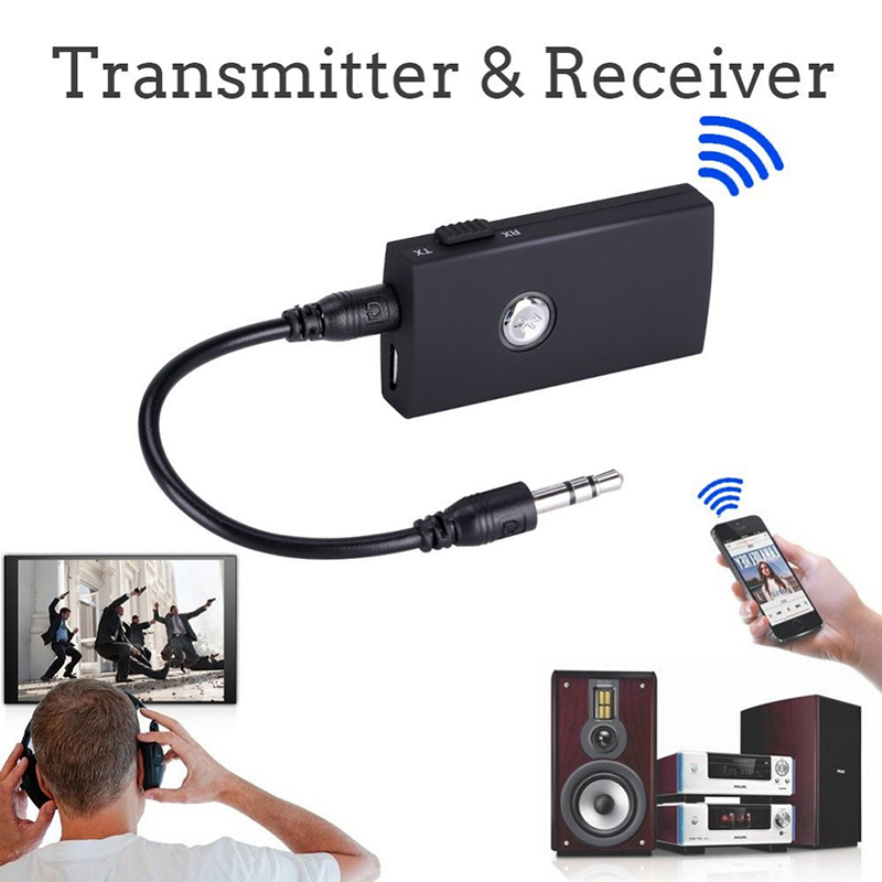 2 in 1 Bluetooth Transmitter and Receiver 3.5mm A2DP Audio Music Stereo Adapter for TV Car Mobile Phone Speaker Headphone MP4 PC