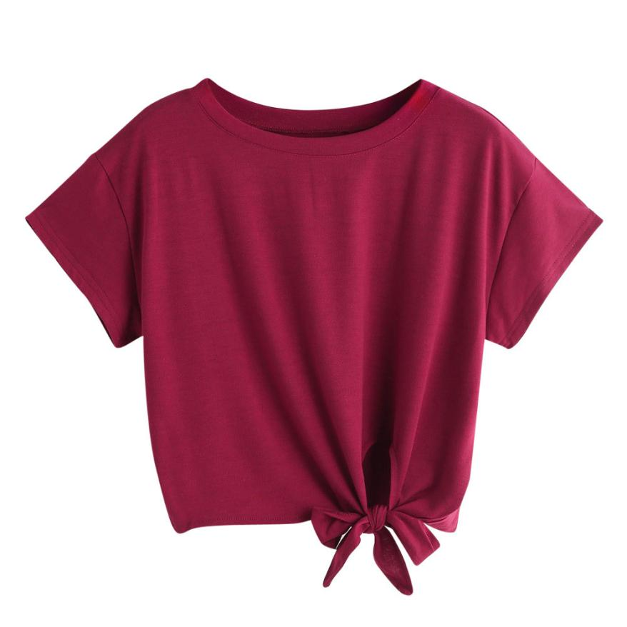 Fashion shirts Women 2019 Summer Knot Front Slub Tee Pink Short Sleeve Round Neck Crop shirt Women Summer Casual Tops