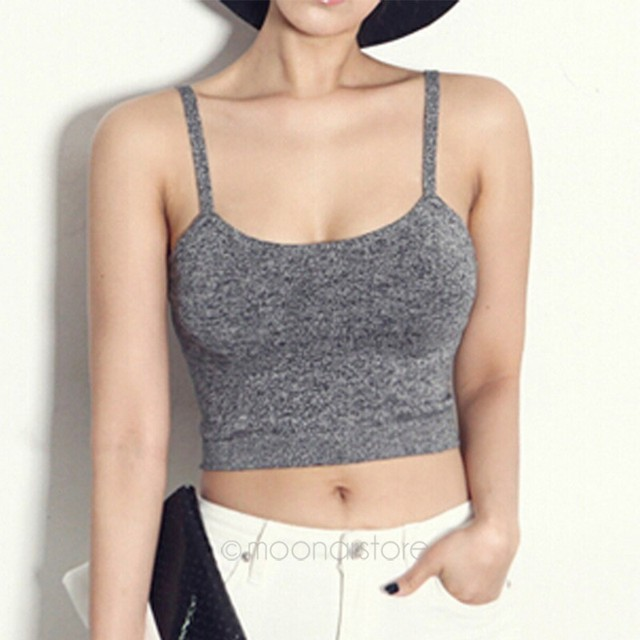 f88a66d561 2019 New Women Gray Spaghetti Strap Vest Tight Bustier Crop Top Dance Women's  Sexy Cropped Top Short Vest Tank Tops Summer Style