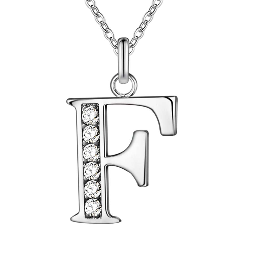 Letter F Bling Zircon Silver Plated Necklace New Sale Silver Necklaces U0026  Pendants /HCCDQKOC DTFQSXJU