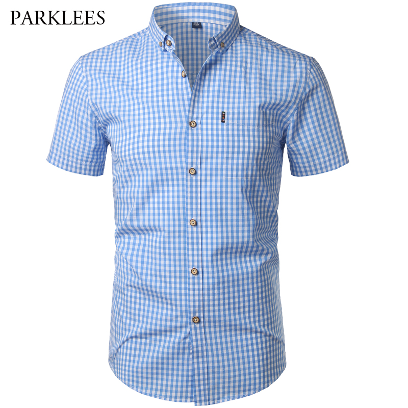 PARKLEES Small Plaid Shirt Men Summer Short Sleeve Cotton Mens Dress Shirts Casual