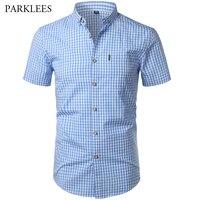 Маленькая рубашка в клетку для мужчин новые летние короткий рукав хлопок s Мужская классическая рубашка повседневное Кнопка подпушка Chemise ...