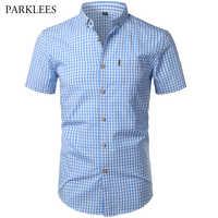 Kleine Plaid Shirt Männer Sommer Neue Kurzarm Baumwolle Herren Hemden Casual-Taste Unten Chemise Homme Camisa Masculina XXXL