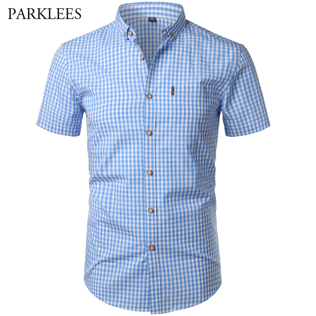 5867b85c921c Small Plaid Shirt Men Summer New Short Sleeve Cotton Mens Dress Shirts  Casual Button Down Chemise