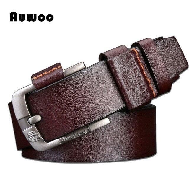 100% Correa masculina pin hebilla cinturones de cuero genuino para los hombres a estrenar de lujo de la vendimia vaqueros cintos cinturón freeshipping