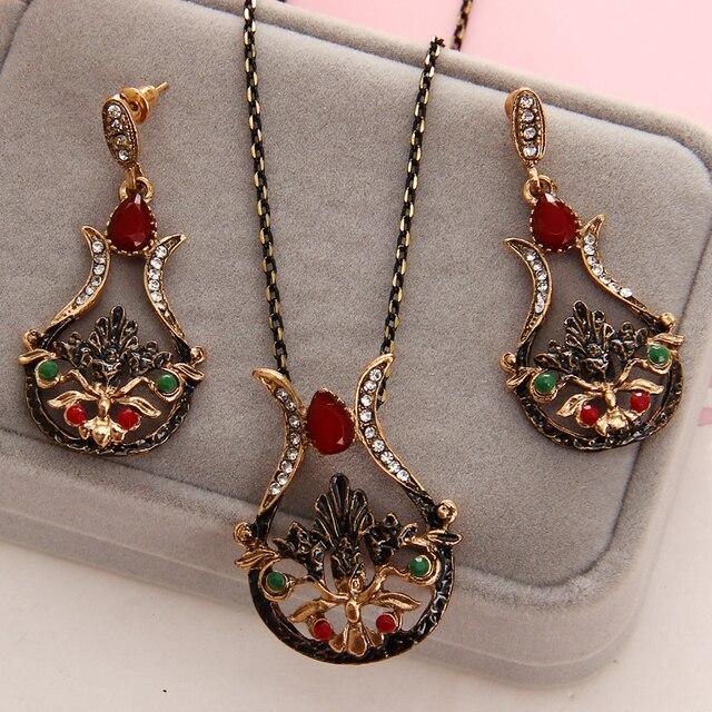 מדהים טורקיה כלה תכשיטי סטים לנשים בציר מראה צבעוני שרף שרשרת עגילי סט Antient זהב פרח אהבת Bijoux