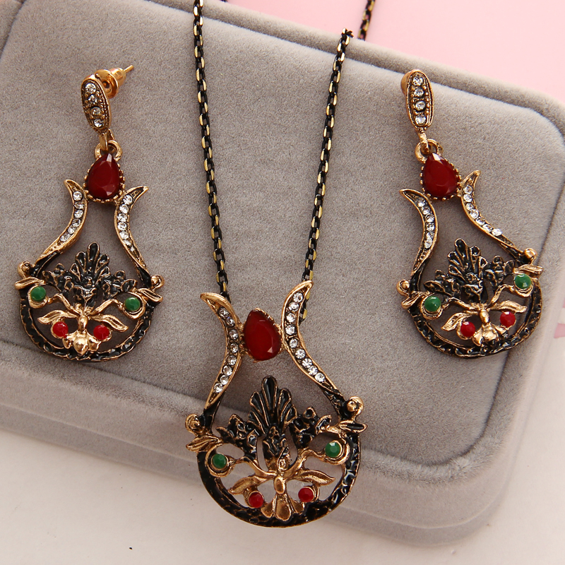 2020 Rhinestone Earrings and Necklace Set of Ornaments Costume Jewelry Sets for Women Bijouterie Ethiopian turkish Jewelry Sets