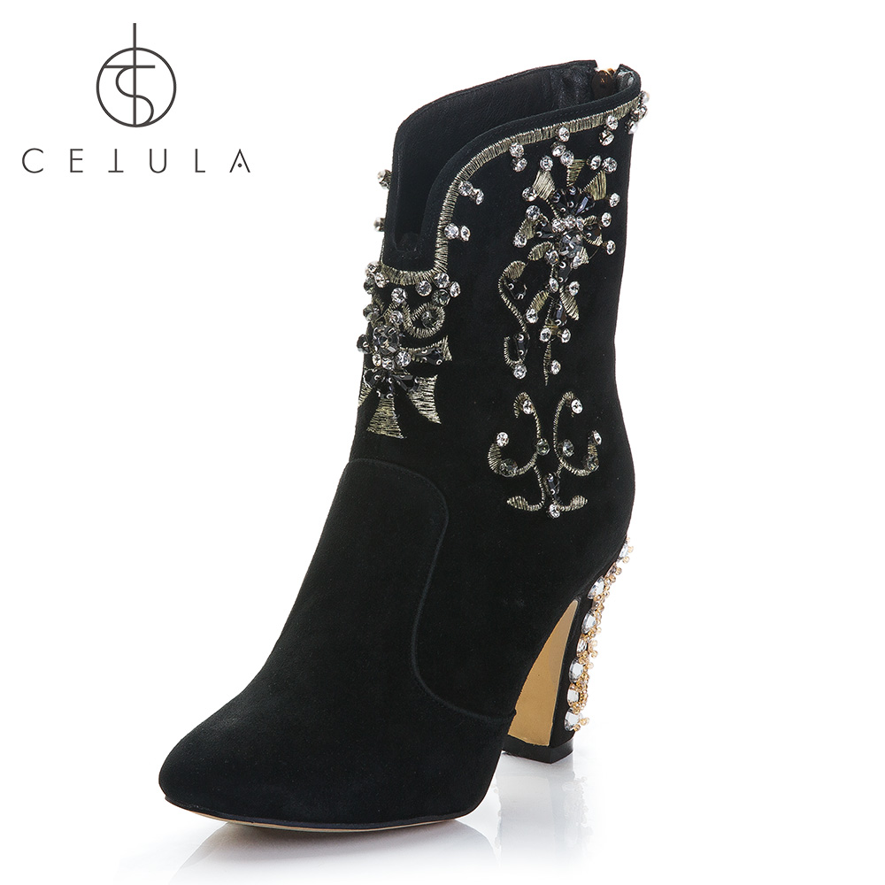 Cetula-2018-Handcrafted-Gold-Floral-Embroidery-Ft-Diamonds-Suede-Female-Ankle-Boots-Yellow-Crystals-Diamonds-Block (5)