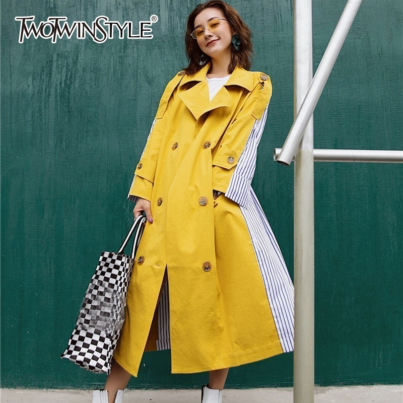 TWOTWINSTYLE Patchwork Striped Women's Windbreaker High Waist Long Sleeve Lace Up   Trench   Coat Female Casual Fashion 2018 Autumn