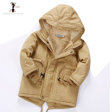 Winter Children Cotton Hooded Full Sleeve Fur Plush children's winter jackets Warm Hot Coat for Boys Kids 1667