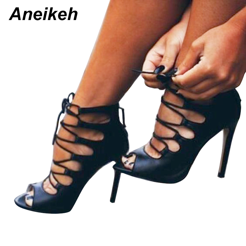 Aneikeh Roman Cross-Strap Shoes Women Sandals Sexy Gladiator Lace Up Open Toe Sandals Thin High Heels Woman Ankle Boots crystal queen sexy women sandals high heels pearl rhinestone thin heel sandals woman flock open toe ankle strap party shoes page 4