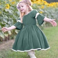 Baby Girls Dress Summer Casual Baby Girls Lace Design Dress Cotton Kids Flare Sleeve Sundress