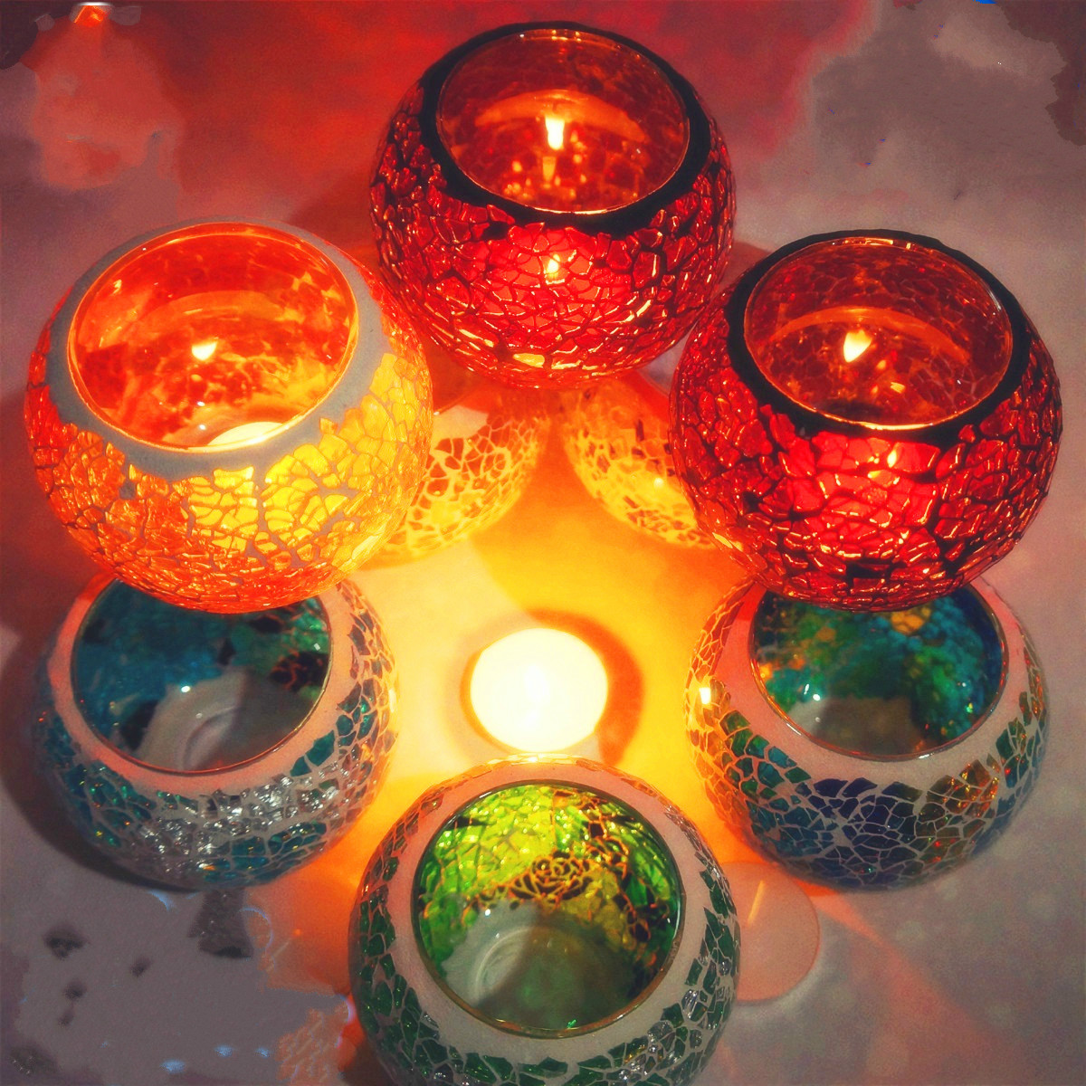 Europe Type Restoring Home Decoration Glass Mosaic Candle Holders