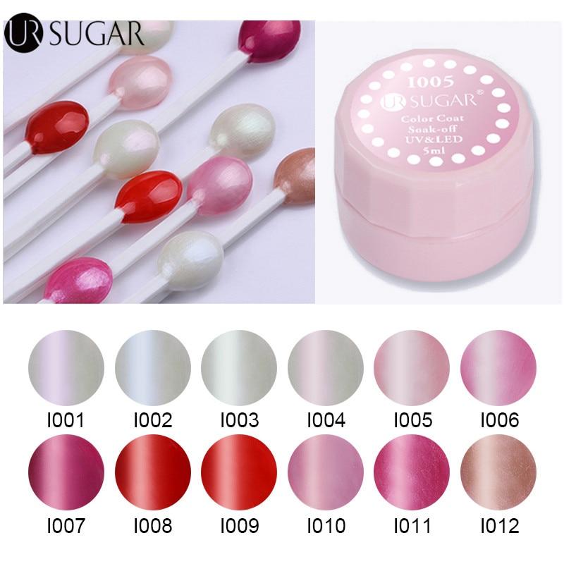 UR SUGAR Gel Lacquer 5ml Light Pearl Series Soak Off UV Gel Shining Color Coat UV LED Nail Art Gel Polish Design Paint Varnish