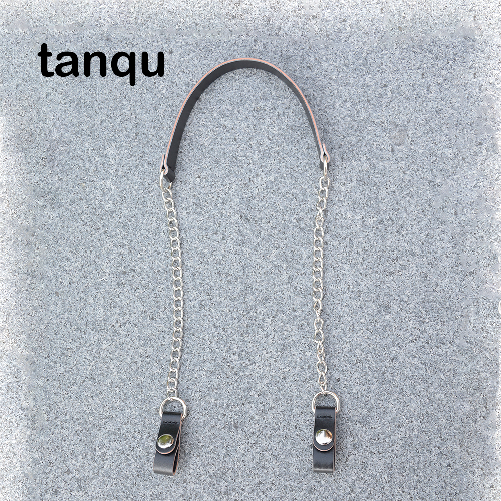 Tanqu Short Metal D Buckle Leather PU Clip Closure Shoulder Chain Strap For Obag O Bag Pocket Handbag
