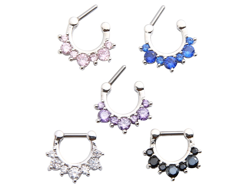 10pcs 16G~1.2MM Earring/Hoop Ring Jewerly CZ Gems Clicker Nose Hoop Septum Rings Helix Diath Piercing