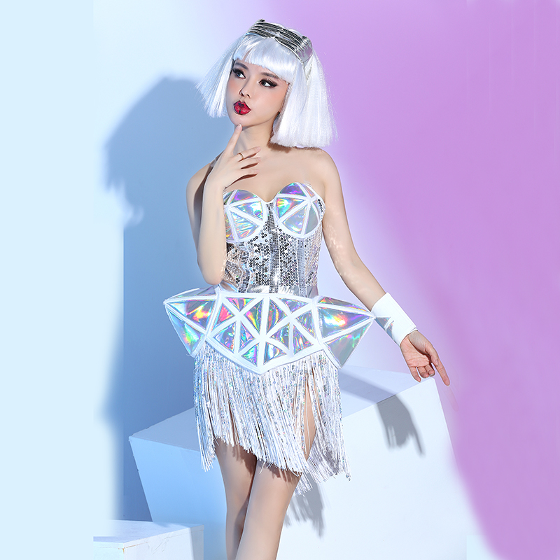 GAGA Silver Reflective Textured Topless Tassel Jumpsuit Party Nightclub Bar Concert DJ Singer/dancer Costume