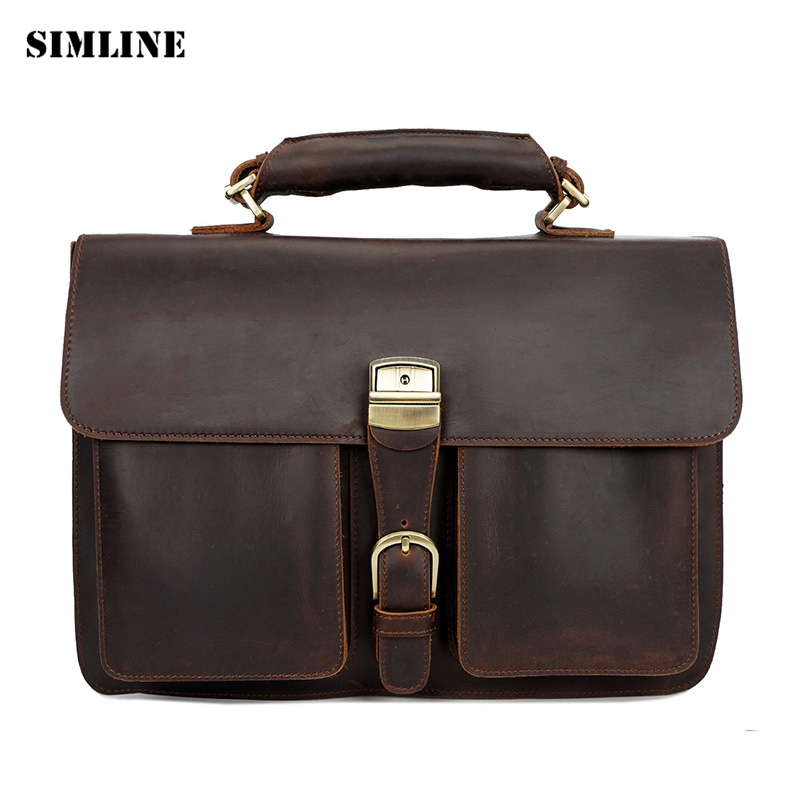 SIMLINE Crazy Horse Genuine Cow Leather Men Handbag Vintage Business Handbags Shoulder Laptop Bag Bags Briefcase Briefcases Male ylang vintage crazy horse cowhide briefcases men messenger bags 15 laptop handbags genuine leather briefcase business bag