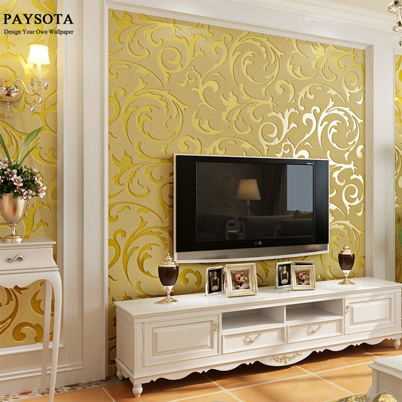 PAYSOTA Luxury Leaves Wallpaper Waterproof Embossed Gold Silver Living Room Walls Wall Paper Rolls 3D Papel De Parede large flower blossom floral 3d room modern wallpaper for walls 3d livingroom wall paper mural rolls household papel de parede