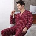 2016 мужская удобные Пижамы Мужской 100% Хлопок С Длинным рукавом Пижамы Устанавливает Классический Плед Пижамы Мужчин Домашняя Одежда Плюс Размер гостиная