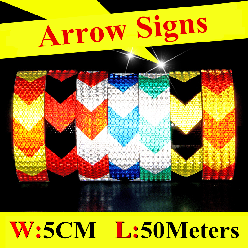 Cheap Arrow Signs Honeycomb Reflective Sheeting Safety Mark Car Stickers Self Adhesive Warning Conspicuity Tape High Visibility