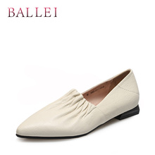 BALLEI Classic Woman Fashion Flats Handmade Genuine Leather Sexy Pointed Toe Soft Heel Shoes Solid Slip-on Elegant Flat P48