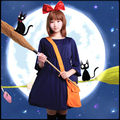 Kiki's Delivery Service Anime Cos Halloween Party Cosplay Witch Kiki Man Woman Cosplay Costume dress+headdress+bag