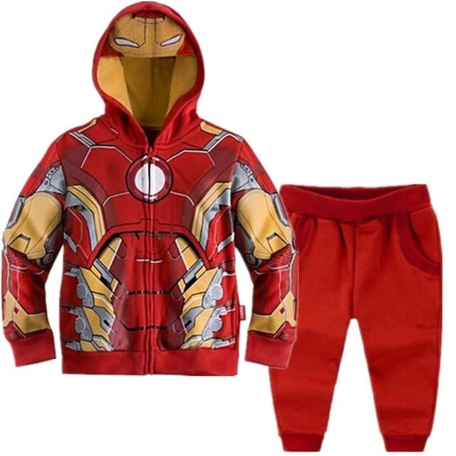 חדש נוקמי ילדי בגדי סט 2 יחידות ברזל איש נים ילד של רוכסנים מעיל מעיל + מכנסיים להאריך ימים יותר בני בגדי ספורט חליפה
