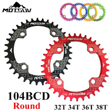 MOTSUV Bicycle Crank MTB 104BCD Round 32T/34T/36T/38T Chain ring Narrow Wide Bike Chainwheel Circle Crankset Plate Bicycle Parts