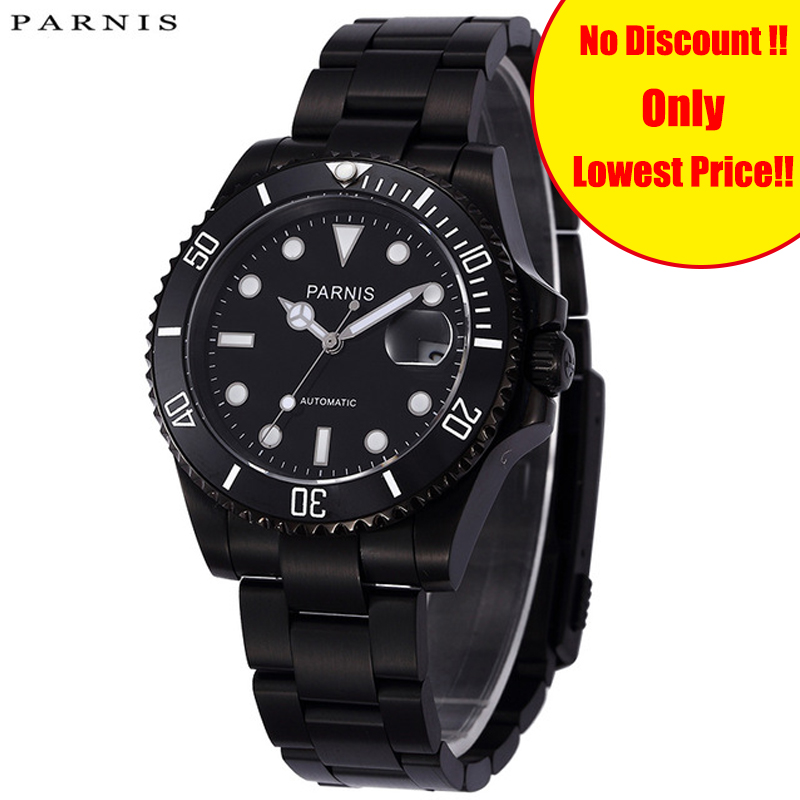 PARNIS 40mm Mens Mechanical Black Full Stainless Steel Watches Automatic Wristwatch For Men Rotating Bezel Auto Calendar ClockPARNIS 40mm Mens Mechanical Black Full Stainless Steel Watches Automatic Wristwatch For Men Rotating Bezel Auto Calendar Clock