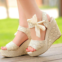 2017 Fashion Womens Pumps Sandals Lady Sweet Candy High Heel Solid Wedge Platform Sandals Bowknot