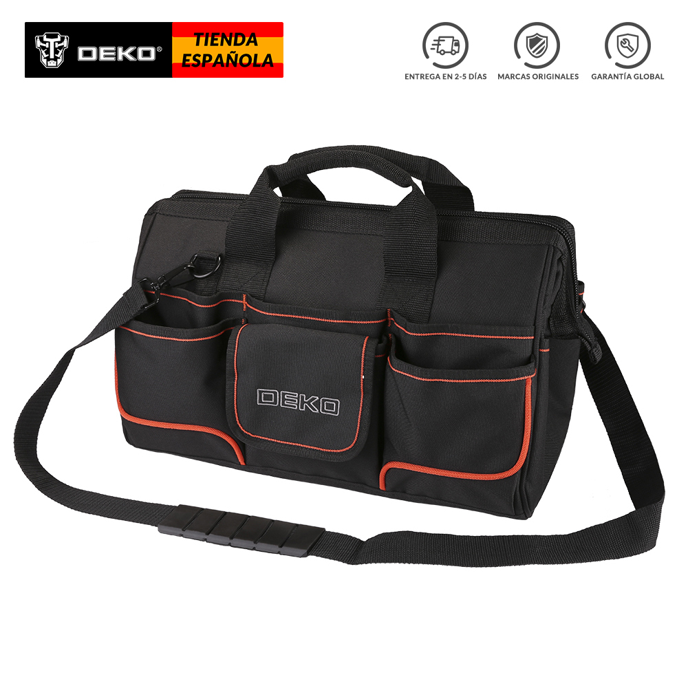 DEKO 16-inch Waterproof Tool Bag 600D Oxford Cloth Crossbody Bag Large Capacity W/ Adjustable Shoulder Strap