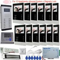 12 Apartman Kapı Zili Sistemi Interkom Kamera Video Kapı Zili 4.3 '' Video Interkom Ile Elektromanyetik Kilit Erişim Kontrol Sistemi