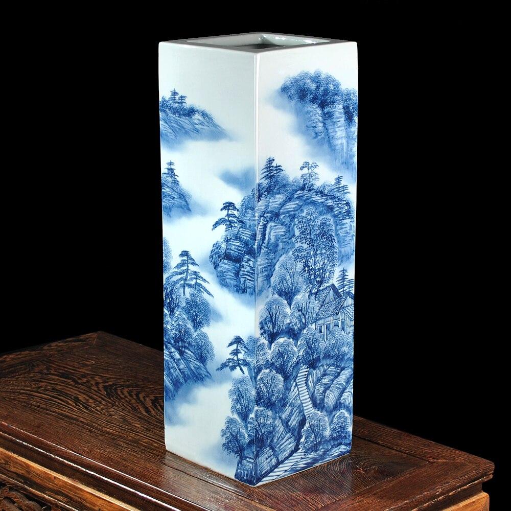 Guo push an céramique glaçure célèbre peint à la main paysage peinture carré vase décoration de la maison salon décoration