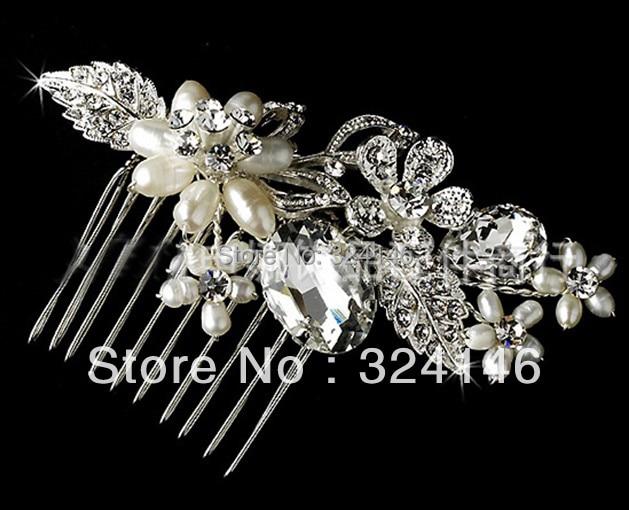 2016 Trendy Handmade Crystal Bridal hair combs Elegant Charming Pearl flower Barrette for Women Wedding Hair Accessories