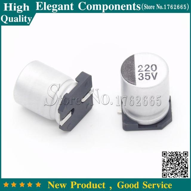 US $16 98  200PCS 220UF 35V 35V 220UF SMD Electrolytic Capacitor 35 V / 220  UF Size 8*10MM Aluminum Electrolytic Capacitors Free Shipping-in